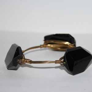 beautiful gold wire and black bangle